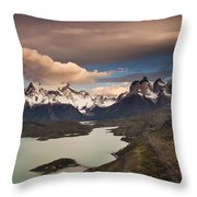 Cuernos Del Paine And Lago Pehoe Throw Pillow