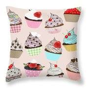 Cupcake  Throw Pillow by Setsiri Silapasuwanchai