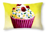 Cupcake With Cherries Throw Pillow