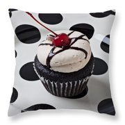 Cupcake With Cherry Throw Pillow