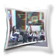Curb Resting - Red-cyan 3d Glasses Required Throw Pillow