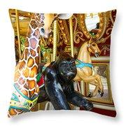 Curious Carousel Beasts Throw Pillow