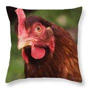 Curious Hen Throw Pillow