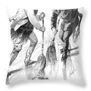 Curling Players, 1885 Throw Pillow