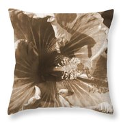 Curly Hibiscus In Sepia Throw Pillow