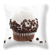 Curly Q Chocolate Cupcake Throw Pillow
