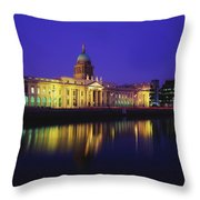 Custom House, Dublin, Co Dublin Throw Pillow by The Irish Image Collection