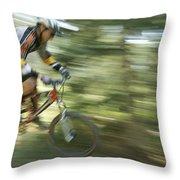 Cycling On Stoner Mesa, Colorado Throw Pillow