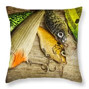 Dad's Fishing Crankbaits Throw Pillow