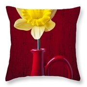 Daffodil In Red Pitcher Throw Pillow