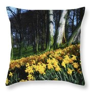 Daffodils Narcissus Flowers In A Forest Throw Pillow