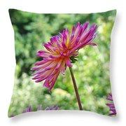 Dahlia Flower Art Print Green Summer Garden Throw Pillow