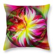 Dahlia Flower Energy Throw Pillow