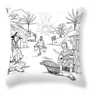 Daily Life In South And Center Cameroon 03 Throw Pillow