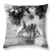 Daisy Crazy Bw Revisited Throw Pillow