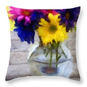 Daisy Crazy Revisited Throw Pillow