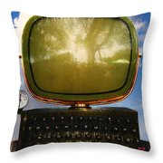 Dali.s Surreal Steampunk Personal Computer With Upgrades Throw Pillow