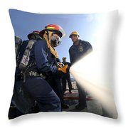 Damage Controlmen Conduct Fire Hose Throw Pillow