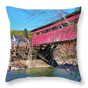 Damaged Covered Bridge Throw Pillow