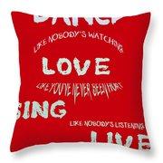 Dance Like Nobody's Watching - Red Throw Pillow by Georgia Fowler