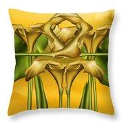 Dance Of The Yellow Calla Lilies II Throw Pillow