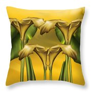 Dance Of The Yellow Calla Lilies Throw Pillow