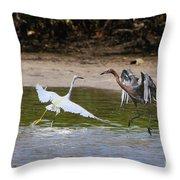 Dancing Egrets Throw Pillow