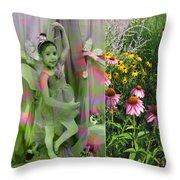 Dancing Girl In Flowers Throw Pillow