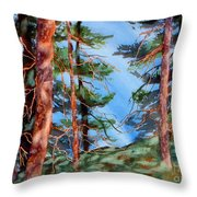 Dancing Light And Mossy Field Throw Pillow