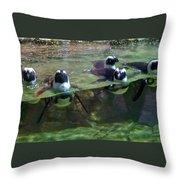 Dancing Penguins Throw Pillow