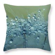 Dandelion Drops In Blue Throw Pillow