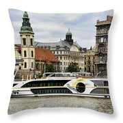 Danube Riverboat In Budapest Throw Pillow