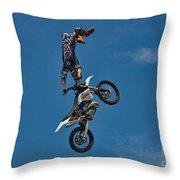 Daredevil Motorcyclist Throw Pillow