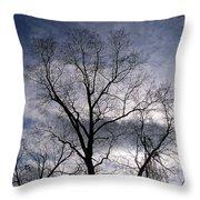 Dark And Stromy Night Trees Throw Pillow