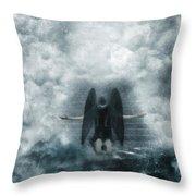 Dark Angel Kneeling On Stairway In The Clouds Throw Pillow