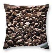 Dark Chocolate Chips Throw Pillow