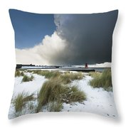 Dark Clouds And Blue Sky Over A Red Throw Pillow