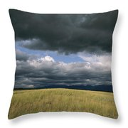 Dark Clouds Gather Over A Prairie Throw Pillow