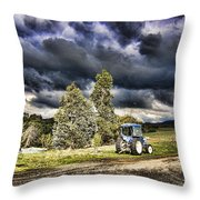 Dark Clouds Over The Farm Throw Pillow