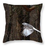 Dark-eyed Junco In Flight Throw Pillow