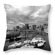 Darling Harbor- Black And White Throw Pillow