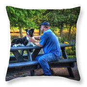 Dave Brushes Moon Throw Pillow