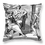 David Playing Harp Throw Pillow