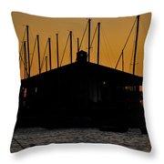 Davis Islands Yacht Club At Sunset Throw Pillow