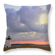 Dawn At Long Point Lighthouse Throw Pillow