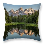 Dawn At Schwabacher Landing Throw Pillow