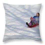 Dawn Flora Sledding 12812c Throw Pillow