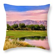 Dawn On The Golf Course Throw Pillow