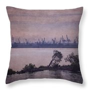 Dawn On The River Neva In Russia Throw Pillow