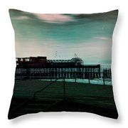 Dawn On The Seafront At Hastings Throw Pillow